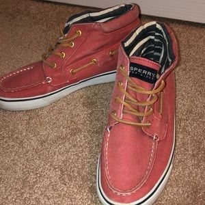 Unique high top rust color sperry sneakers
